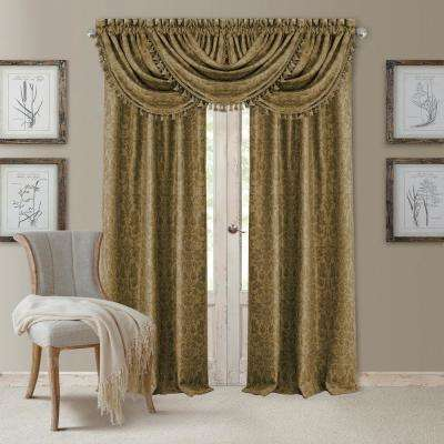 Blackout Antonia Antique Gold Blackout Rod Pocket Window Panel - 52 in. W x 95 in. L