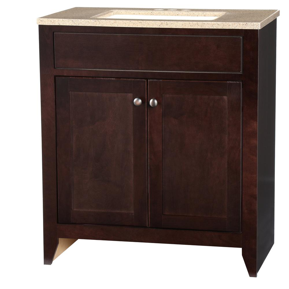 Glacier bay modular 30 5 in w bath vanity in java with solid surface vanity top in cappuccino - Custom solid surface bathroom vanity tops ...
