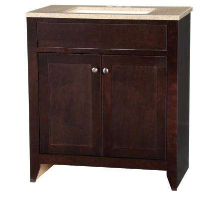 Modular 30.5 in. W Bathroom Vanity in Java with Solid Surface Vanity Top in Cappuccino with White Basin