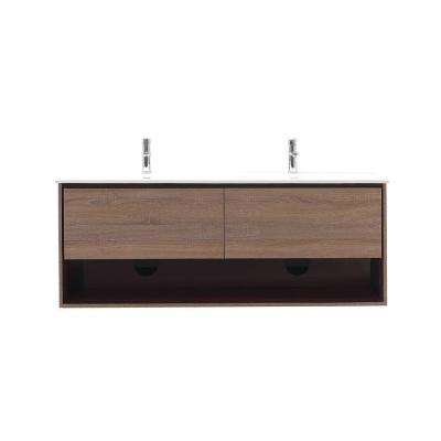 Sonoma 63 in. W x 20.5 in. D x 24.1 in. H Vanity in Restored Khaki with Solid Surface Vanity Top in White