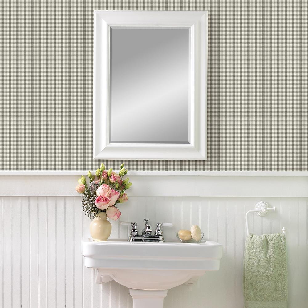 Chesapeake Roslin Dark Grey Check Wallpaper Sample 3112-002706SAM