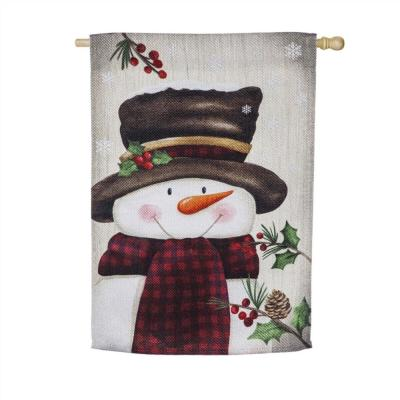 28 in. x 44 in. Smiling Snowman House Textured Suede Flag