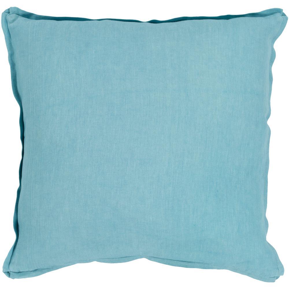 Zevgari Aqua Solid Polyester 22 in. x 22 in. Throw Pillow