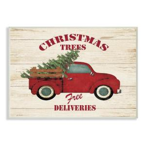 Vintage Red Truck Christmas Placemats.10 In X 15 In Merry Christmas Vintage Tree Truck By Jo Moulton Printed Wood Wall Art