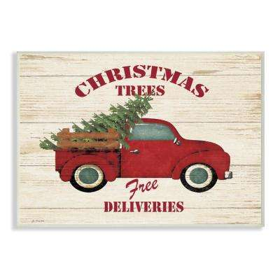 "10 in. x 15 in. ""Merry Christmas Vintage Tree Truck"" by Jo Moulton Printed Wood Wall Art"