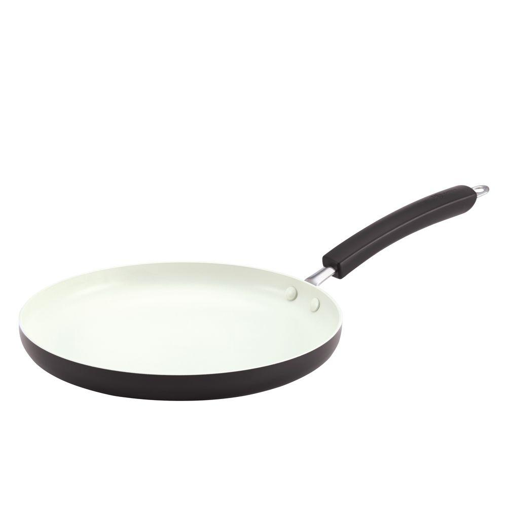 Paula Deen Savannah Collection 10.5 in. Aluminum Nonstick Round Griddle in Black