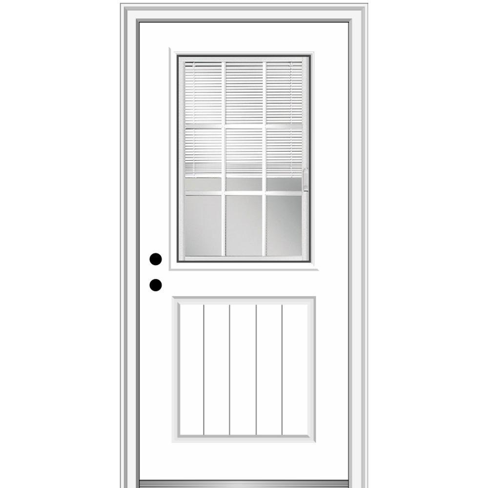 MMI Door 36 in. x 80 in. Internal Blinds/Grilles Right-Hand 1/2 Lite 1-Panel Clear Primed Fiberglass Smooth Prehung Front Door