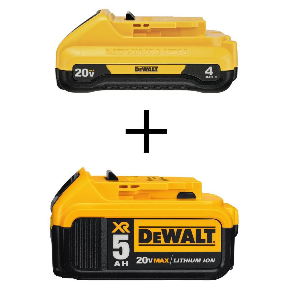 Dewalt 20-Volt MAX XR Lithium-Ion Premium (1) 4.0Ah Compact Battery with (1) 5.0Ah Battery