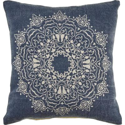 Intricate Medallion 20 in. x 20 in. Navy/Cream Throw Pillow