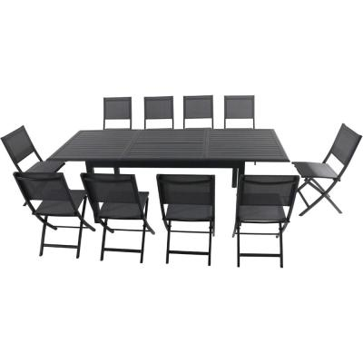 Cameron 11-Piece Aluminum Outdoor Dining Set with 10 Folding Sling Chairs and an Expandable Table