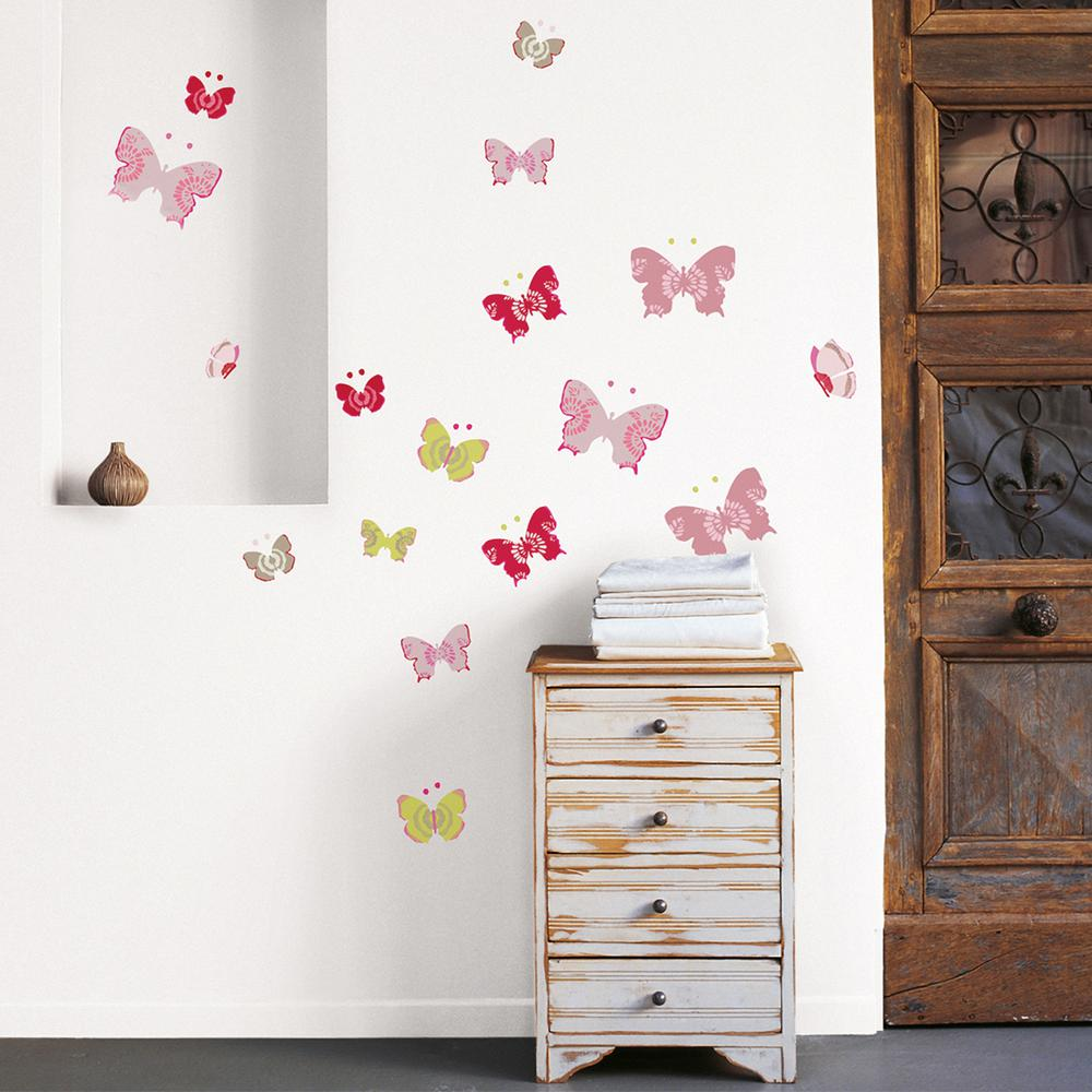 Nouvelles Images Multicolor Butterflies Wall Decal Host 1938 The