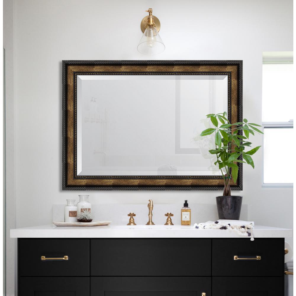 31 in. x 43 in. Framed 3 5/8 in. Gold Rope Scoop Resin Frame Mirror