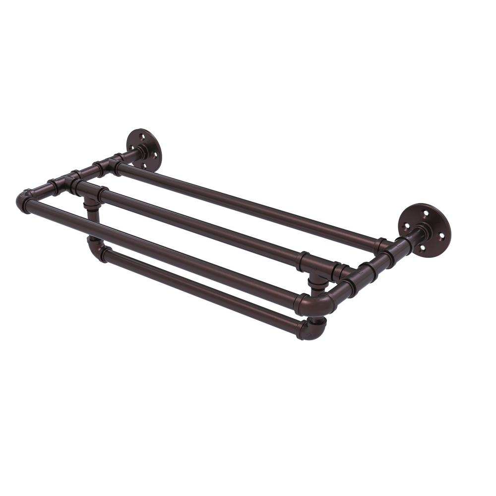 Allied Brass Pipeline Collection 30 in. Wall Mounted Towel Shelf ...