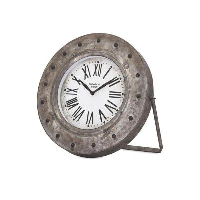 Stockton 10.75 in. x 11.5 in. Round Iron Table Clock in Distressed Silver