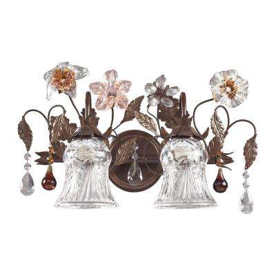 Cristallo Fiore 2-Light Deep Rust Wall Mount Vanity Light