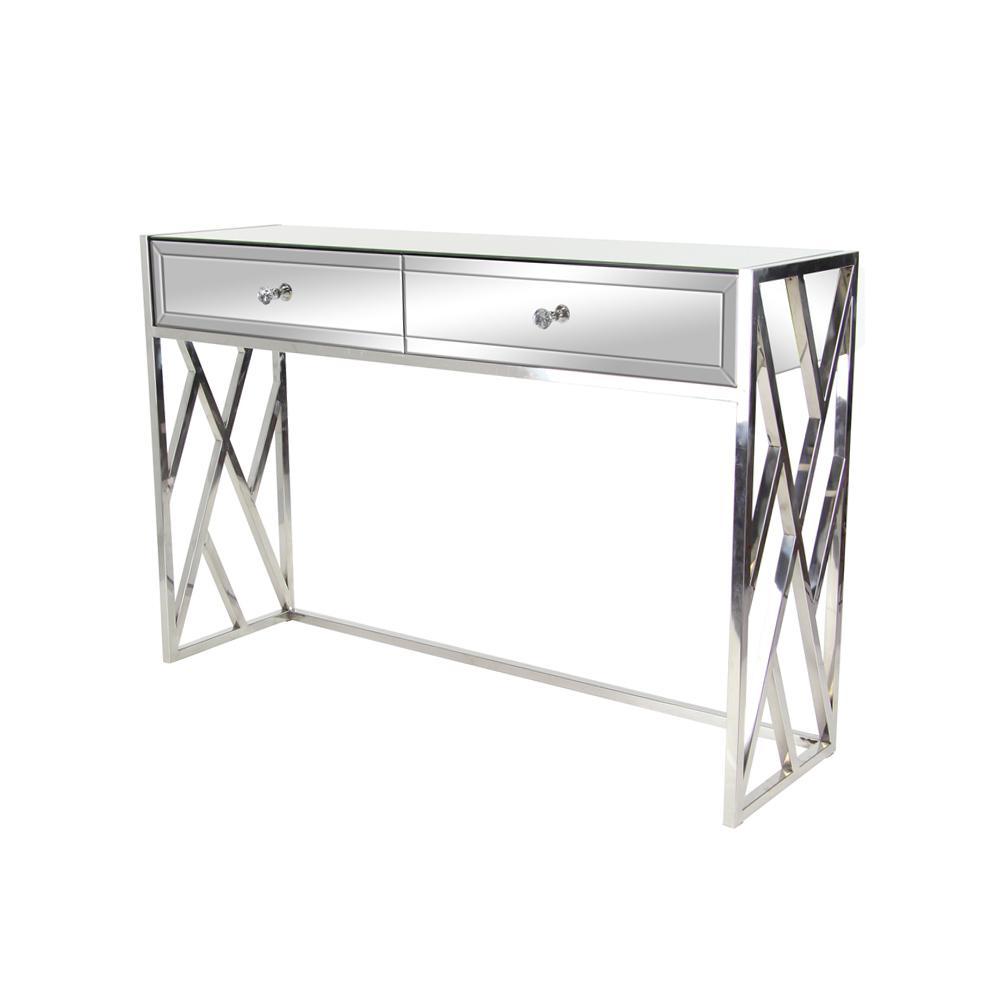 Litton Lane Silver 2 Drawer Mirrored Console Write A Review