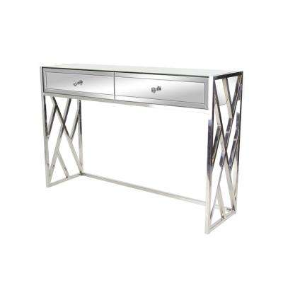 Silver 2-Drawer Mirrored Console