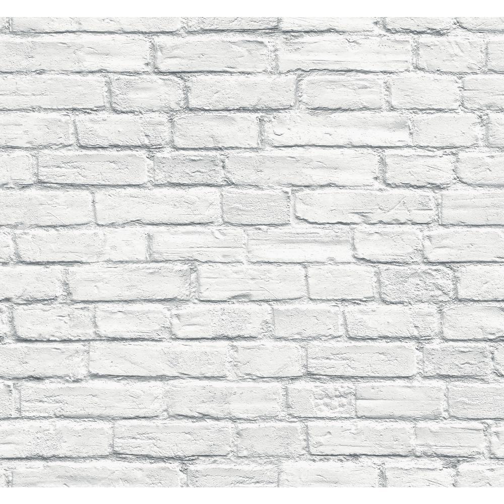 Distressed White Brick Wallpaper
