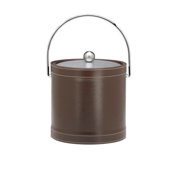 Kraftware 3 Qt. Stitched Chocolate Ice Bucket with Bale Handle 68868