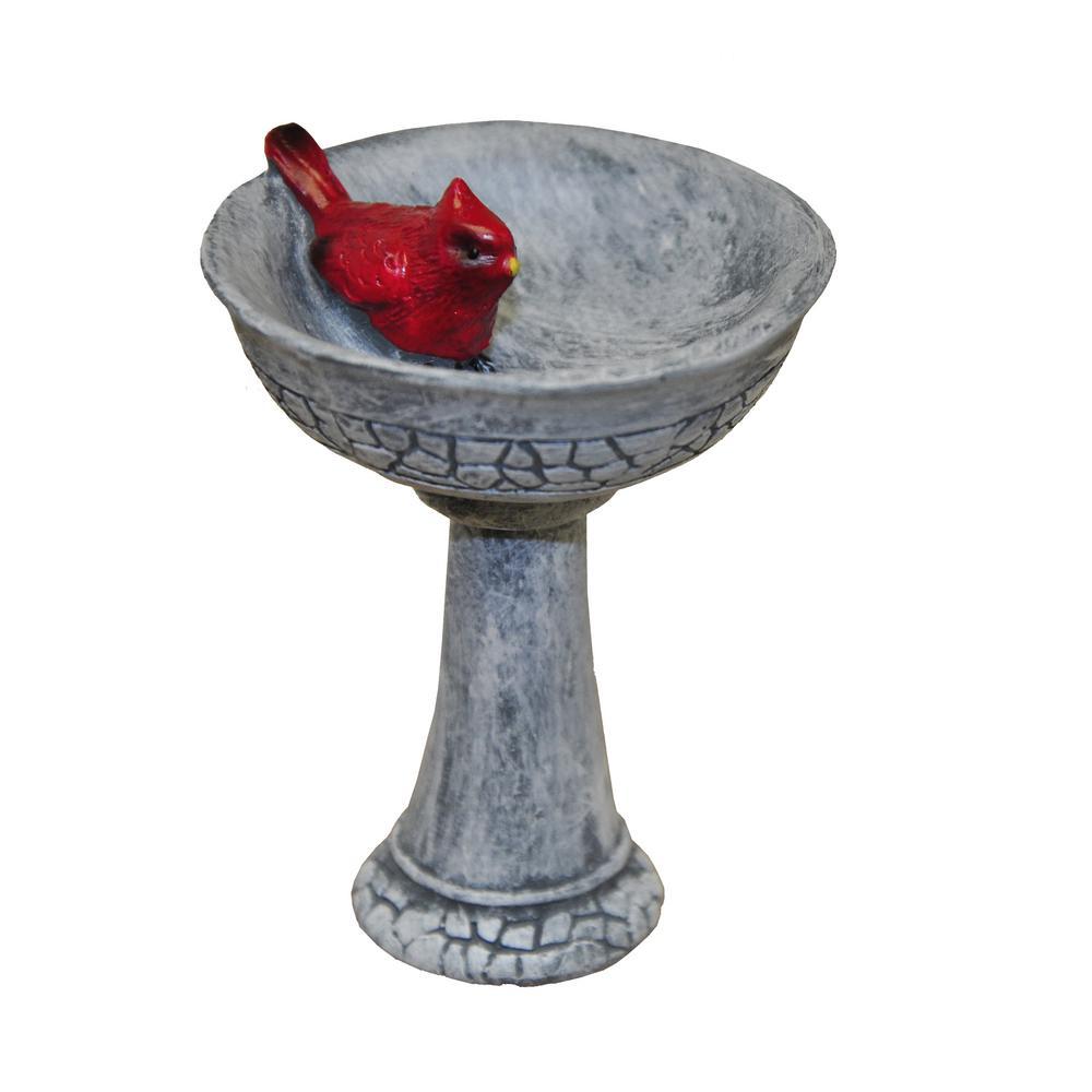 MiniGardenn Fairy Garden Miniature Cardinal Birdbath Pick