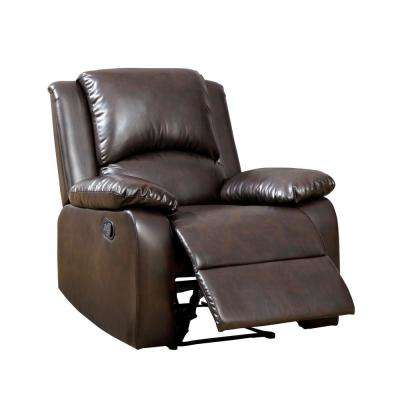Mischa Rustic Dark Brown Leatherette Recliner Chair