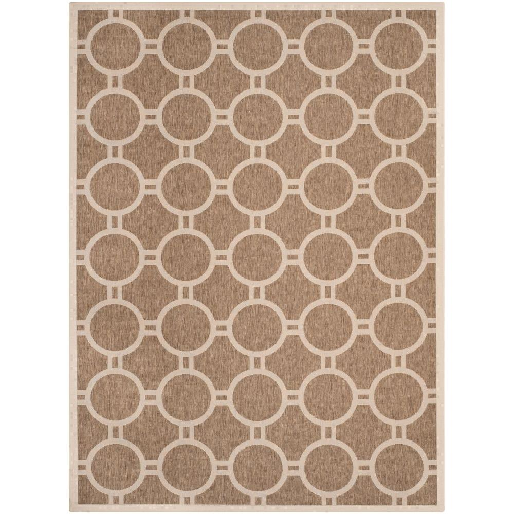 Courtyard Brown/Bone 8 ft. x 11 ft. Indoor/Outdoor Area Rug