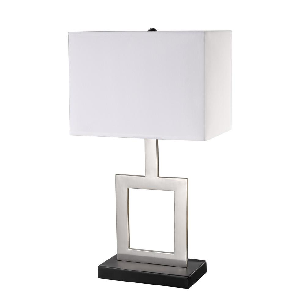 Globe Electric Haven 21 In. Brushed Nickel Finish Indoor Table Lamp With  White Fabric Shade