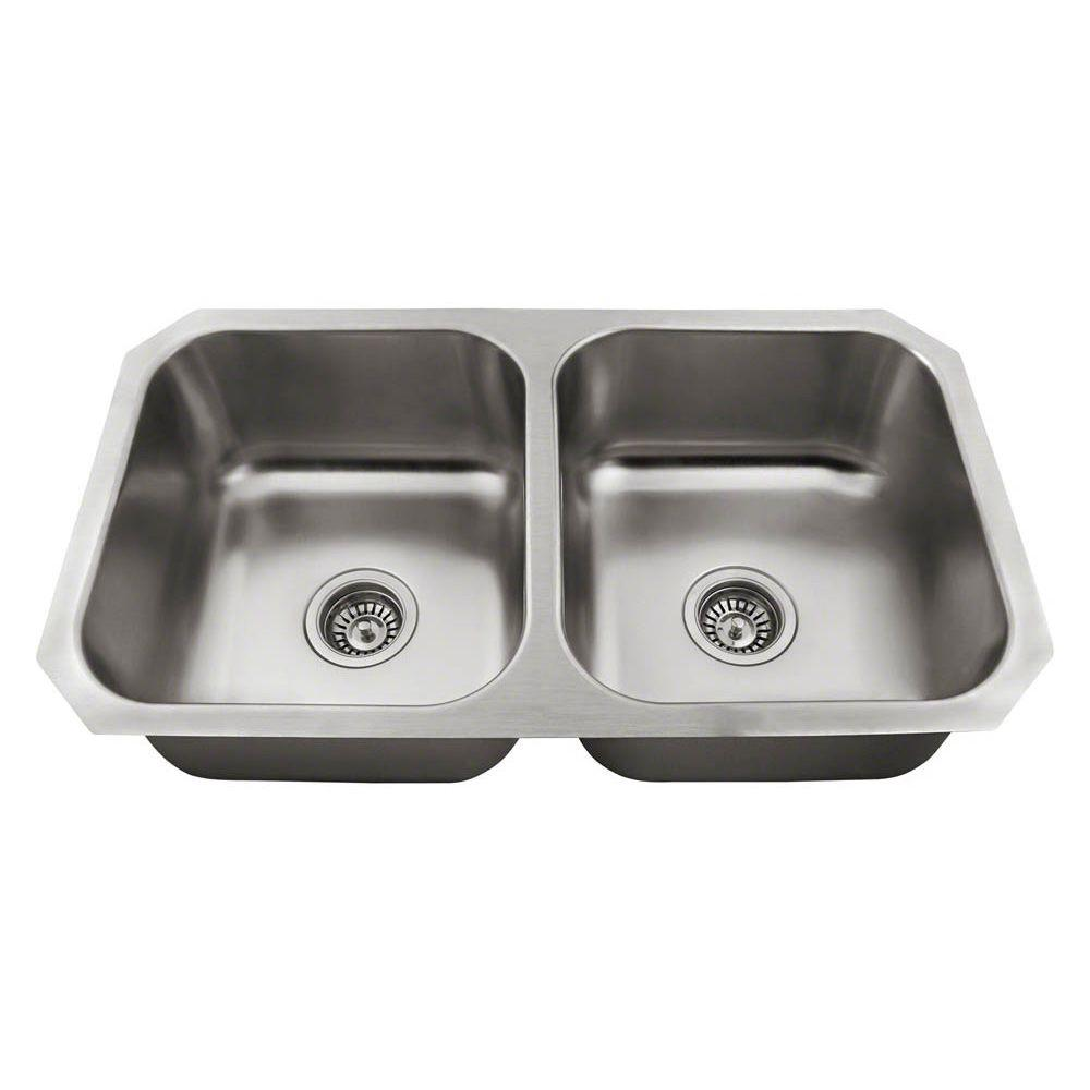 Polaris Sinks All In One Undermount Stainless Steel 32 In. Double Bowl  Kitchen
