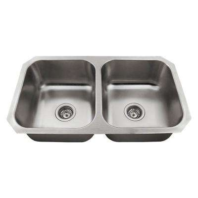 All In One Undermount Stainless Steel 32 In. Double Bowl Kitchen Sink