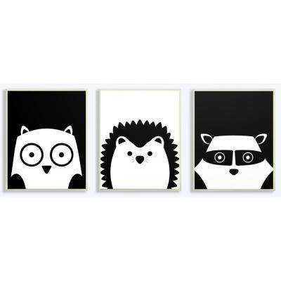 "10 in. x 15 in. ""Be Wild Black and White Critters"" by Jessica Mundo Printed Wood Wall Art (3-Piece, Each)"