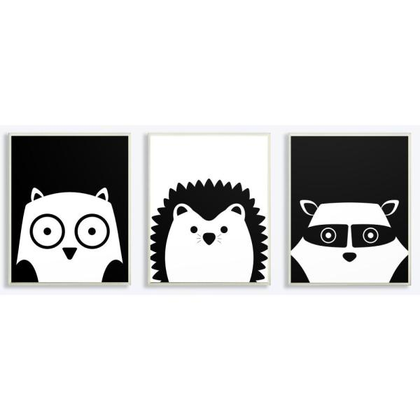 10 In X 15 In Be Wild Black And White Critters By Jessica Mundo Printed Wood Wall Art 3 Piece Each