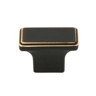 NEPOLI Rectangle 1-1/2 in. (38 mm) x 7/8 in. (22 mm) Oil Rubbed Bronze Cabinet Knob (50-Pack)