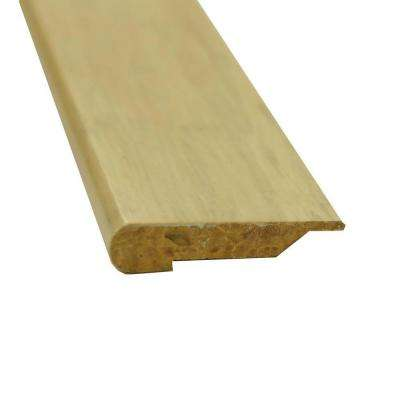 Stained White 1 in. Thick x 3-5/8 in. Wide x 72-3/4 in. Length Strand Bamboo Overlap Stair Nose Molding