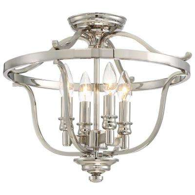 Audreys Point 4 Light Polished Nickel Semi Flush Mount