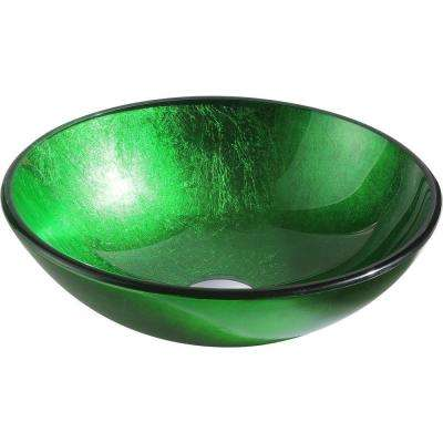 Melody Series Deco Glass Vessel Sink In Lustrous Green