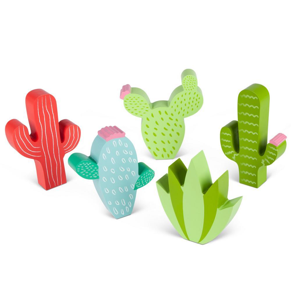 Assorted Wood Cactus Figurines (Set of 5)