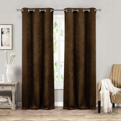 Sera 37 in. W x 84 in. L Polyester Window Panel in Chocolate