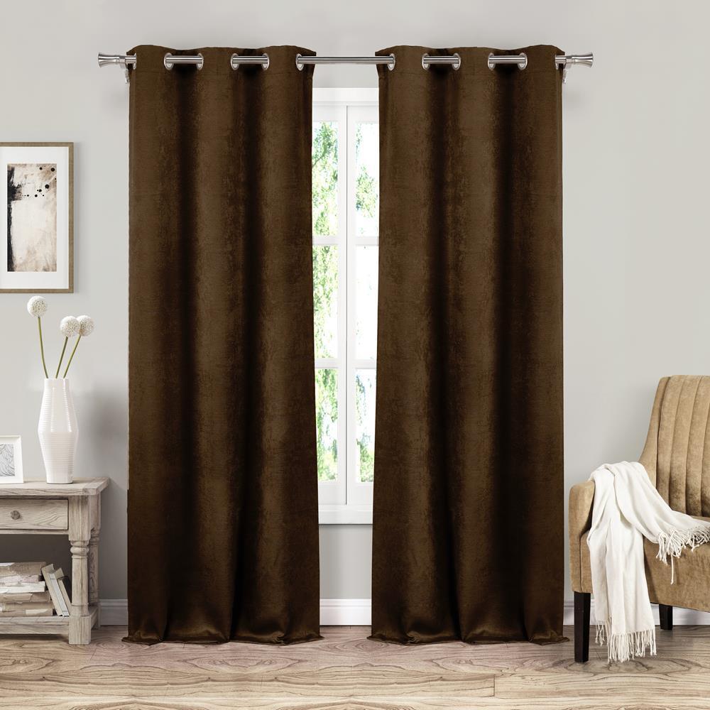 Sera 37 in. W x 84 in. L Polyester Window Panel in Chocolate