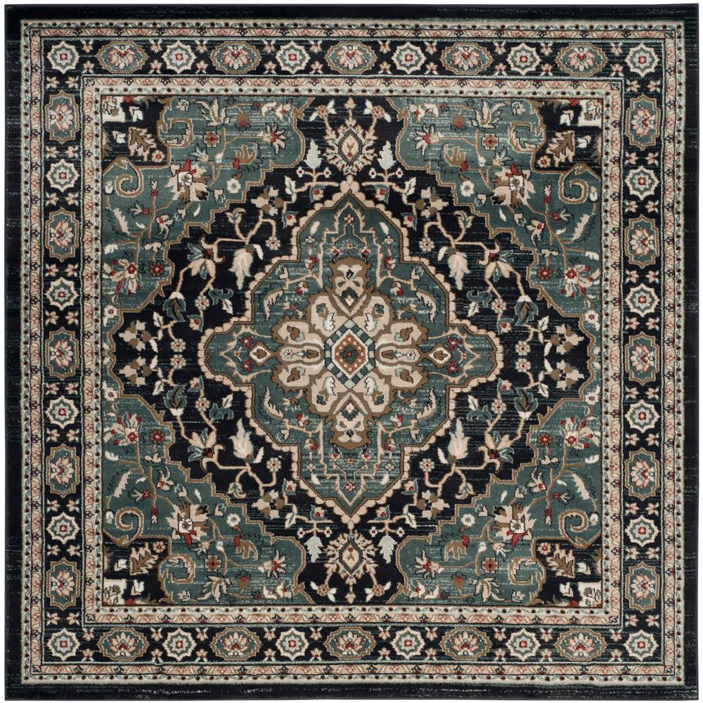 Safavieh Lyndhurst Anthracite Teal 7 Ft X 7 Ft Square