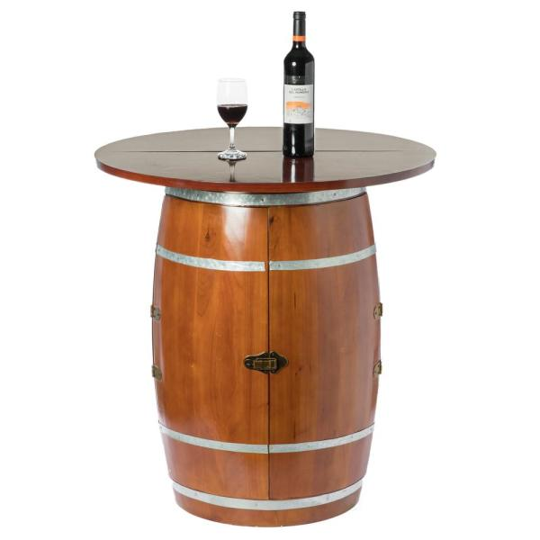 Vintiquewise Brown Wine Barrel Round Table Wine Storage Cabinet Qi003768 The Home Depot