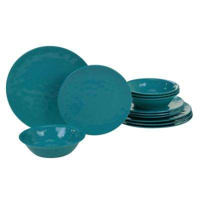 Melamine 12-Piece Teal Dinnerware Set