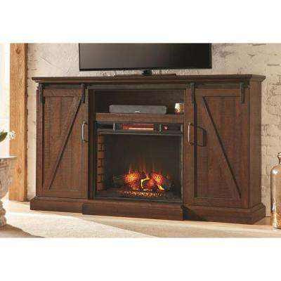 Chestnut Hill 68 in. Media Console Electric Fireplace in Rustic Walnut