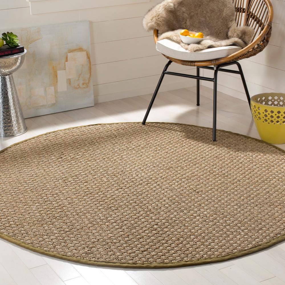 Natural Fiber Beige/Olive 6 ft. x 6 ft. Round Indoor Area Rug