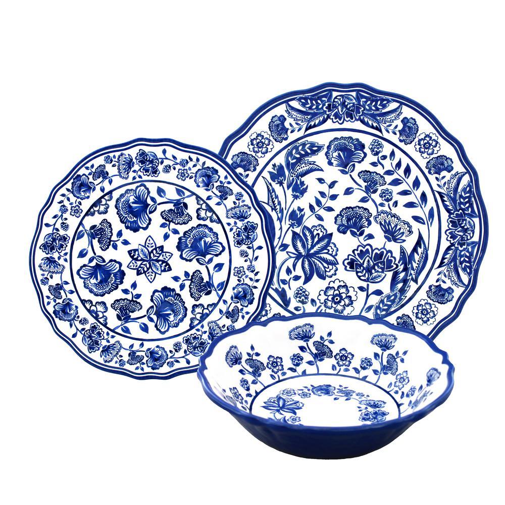 12-Piece Jardin Blue Dinnerware Set