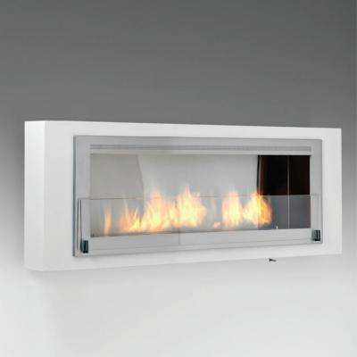 Santa Cruz 63 in. Ethanol Wall Mounted Fireplace in Gloss White with Stainless Interior