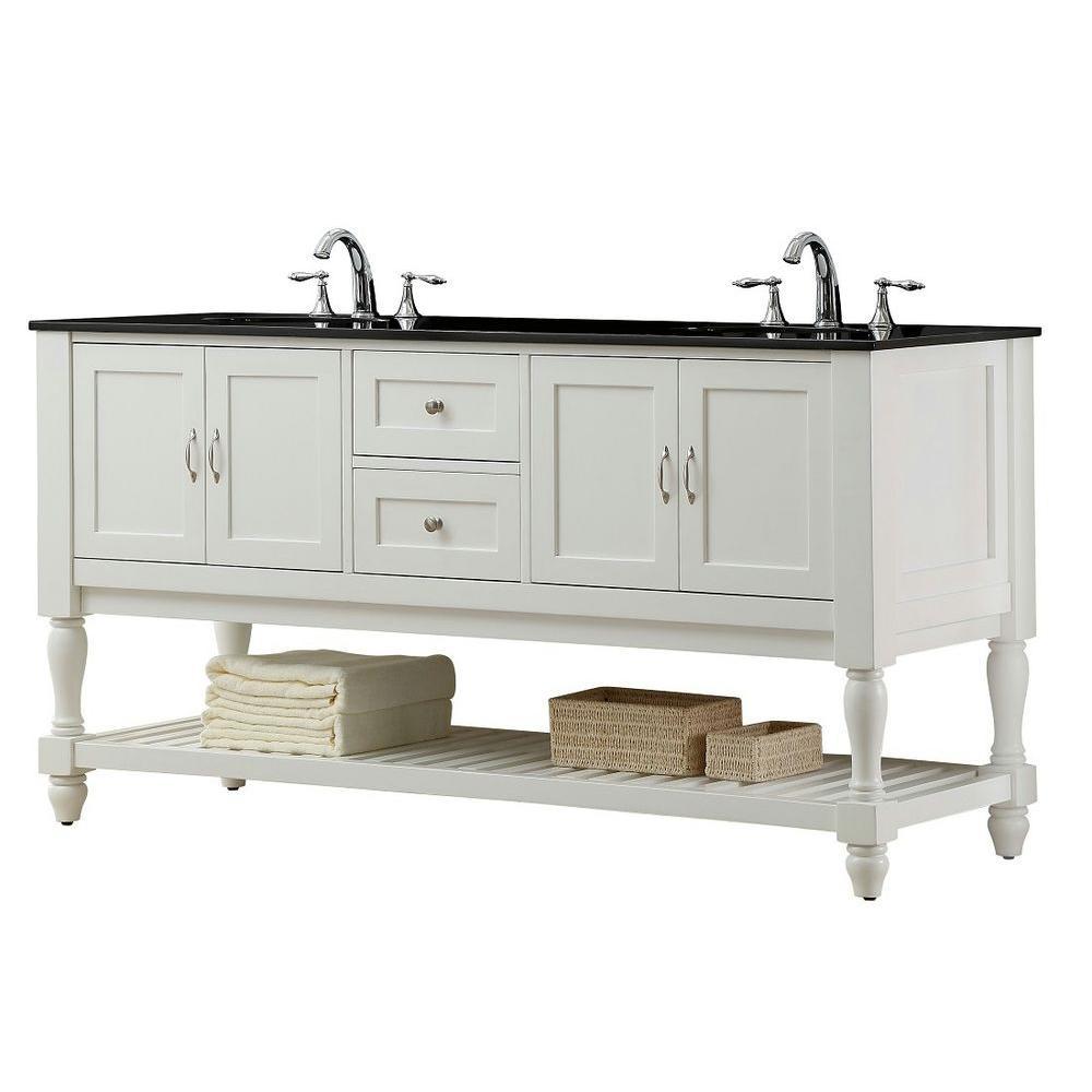 Direct vanity sink Mission Turnleg 70 in. Double Vanity in Pearl White with Granite Vanity Top in Black
