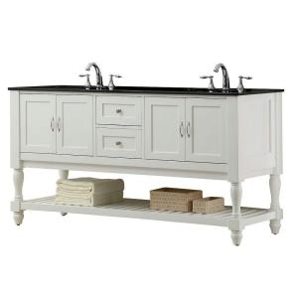Direct vanity sink Mission Turnleg 70 inch Double Vanity in Pearl White with Granite Vanity Top in Black by Direct vanity sink