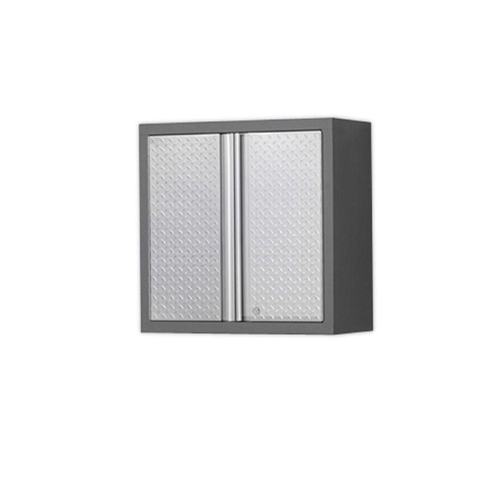 NewAge Products Pro Diamond Plate Series 28 in. W x 28 in. H x 14 in. D Wall Cabinet in Silver/Gray Frame