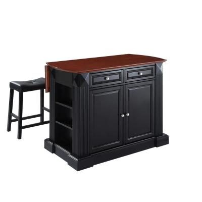 Coventry Black Drop Leaf Kitchen Island with Saddle Stools