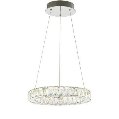 Reese 15.7 in. Chrome/Clear Adjustable Integrated LED Metal/Crystal Chandelier Pendant